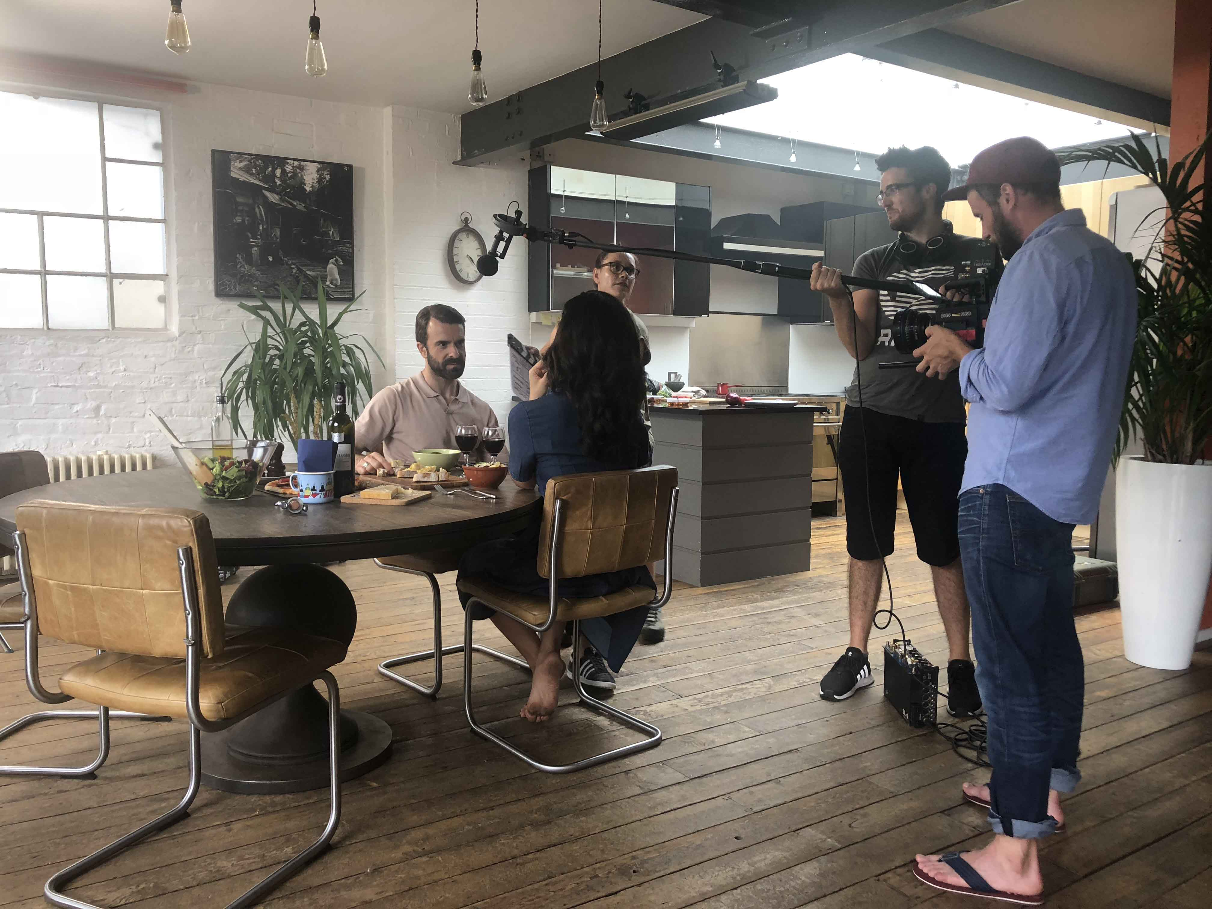 Filming a scene in a kitchen for Deli Discoveries