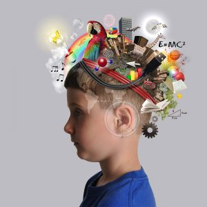 Picture of boy with elements coming out of his head